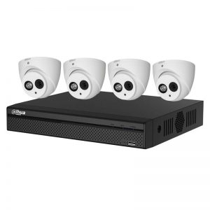 4 Dome Cameras (HAC-HDW1400EM-A) with 4Ch DVR (XVR5104HS-X1) and 1TB HDD