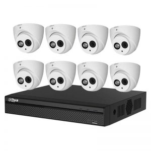 8 Dome Cameras (HAC-HDW1400EM-A) with 8Ch DVR (DH-XVR5108HS-4KL-X) and 2TB HDD