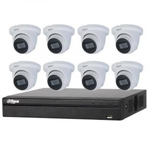 8 Starlight Turret Cameras (IPC-HDW2431TM-AS-S2) with 8Ch NVR (DHI-NVR4108HS-8P-4KS2) and 2TB HDD