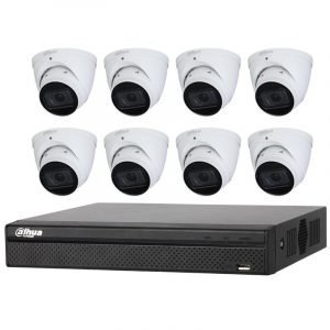 8 Starlight Turret Cameras (DH-IPC-HDW2431T-ZS-S2) with 8Ch NVR (DHI-NVR4108HS-8P-4KS2) and 2TB HDD