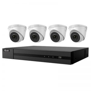 4 Hilook Turret Dome CCTV (IPC-T240H) with 4Ch NVR (NVR-104MH-C-4P) and 2TB HDD