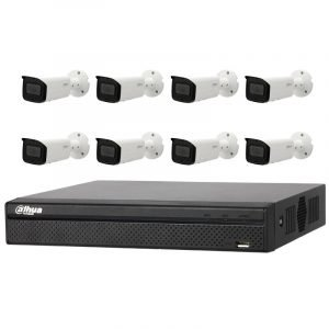 8 Bullet Motorised Cameras (IPC-HFW2831T-ZAS) with 8Ch NVR (DHI-NVR4108HS-8P-4KS2) and 2TB HDD