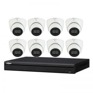 8 Turret Cameras (DH-IPC-HDW3641TM-AS) with 8Ch NVR (NVR4108HS-8P-4KS2) and 2TB HDD