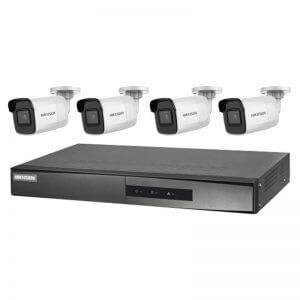 4 Hikvision 6MP IR Fixed Bullet (DS-2CD2065G1-I) with 4Ch NVR (7604NI-K1-4P-3TB) and 3TB HDD