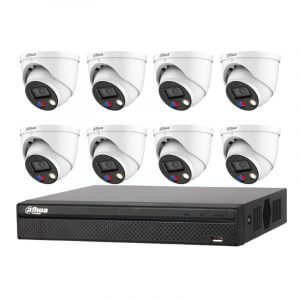 8 Dahua 5MP Full-color Eyeball (IPC-HDW3549H-AS-PV) with 8Ch NVR (DHI-NVR4108HS-8P-4KS2) with 2Tb HDD