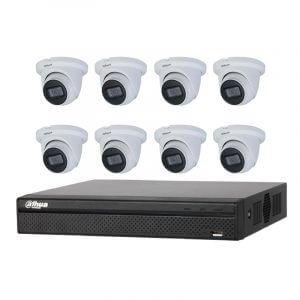 8 Dahua 5MP IR Fixed focal Eyeball (DH-IPC-HDW3541TM-AS) with 8Ch NVR (DHI-NVR4108HS-8P-4KS2) with 2Tb HDD