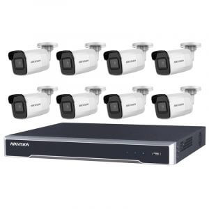 8 Hikvision 8MP IR Fixed Bullet (DS-2CD2085G1-I) with 8Ch NVR (7608NI-I2-8P-3TB) and 3TB HDD