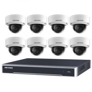 8 Hikvision 6MP IR Fixed Dome (DS-2CD2165G0-I(S)) with 8Ch NVR (7608NI-I2-8P-3TB) and 3TB HDD