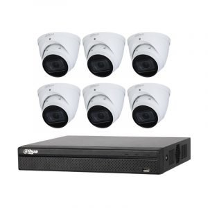 6 Starlight Turret Cameras (DH-IPC-HDW2431T-ZS-S2) with 8Ch NVR (DHI-NVR4108HS-8P-4KS2) and 2TB HDD