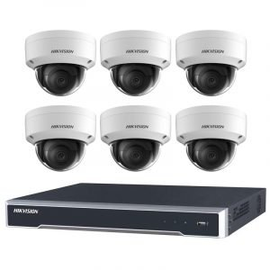 6 Hikvision 6MP IR Fixed Dome (DS-2CD2165G0-I(S)) with 8Ch NVR (7608NI-I2-8P-3TB) and 3TB HDD