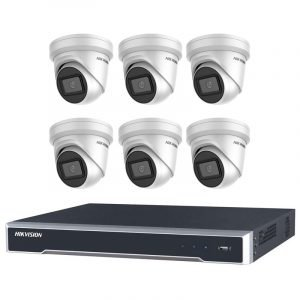 6 Hikvision 6MP IR Turret (DS-2CD2365G1-I) with 8Ch NVR (7608NI-I2-8P-3TB) and 3TB HDD