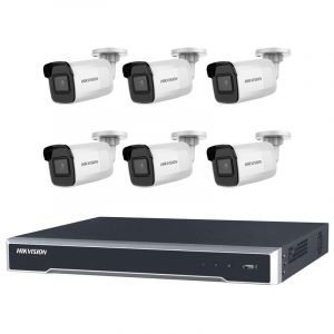 6 Hikvision 8MP IR Fixed Bullet (DS-2CD2085G1-I) with 8Ch NVR (7608NI-I2-8P-3TB) and 3TB HDD