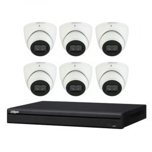 6 Turret Cameras (DH-IPC-HDW3641TM-AS) with 8Ch NVR (NVR4108HS-8P-4KS2) and 2TB HDD